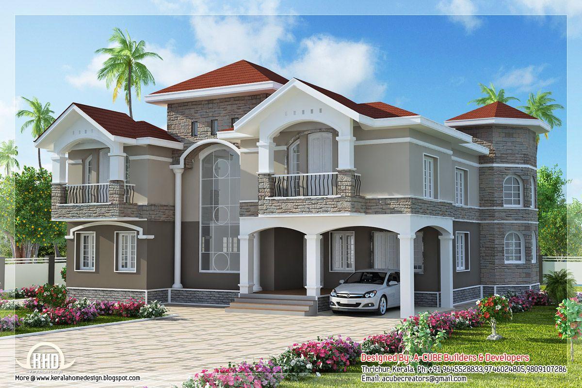 4 Bedroom Double Floor Indian Luxury Home Design Kerala House