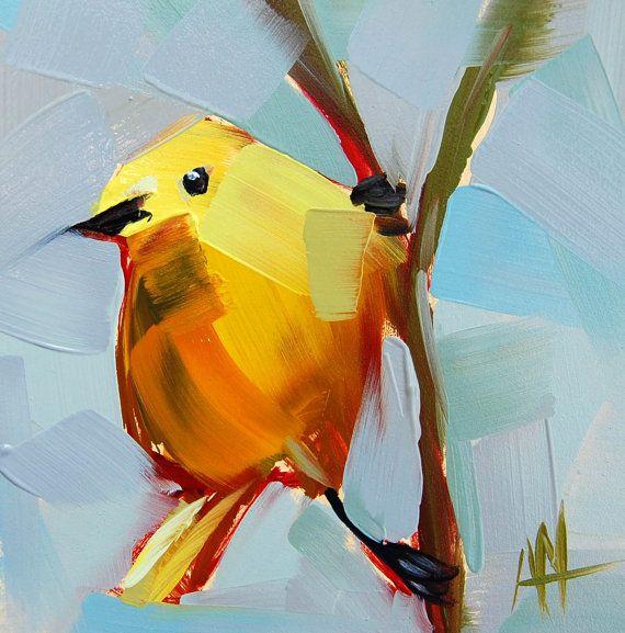 yellow warbler no 41 original bird oil painting by prattcreekart