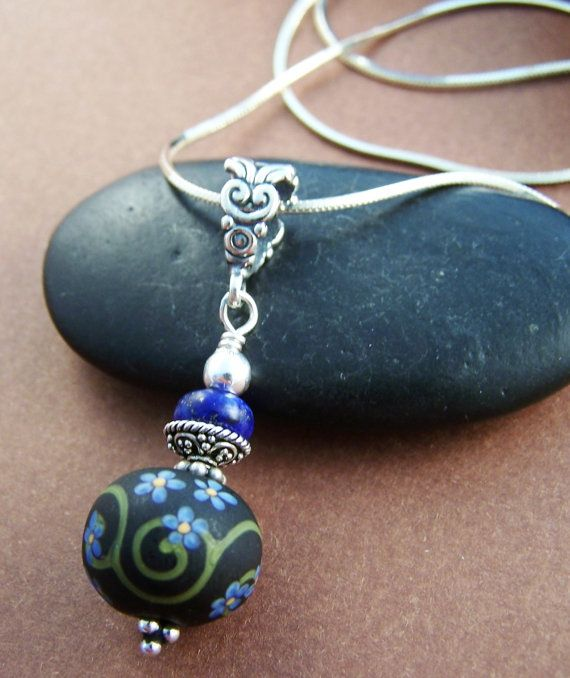 Journey Necklace  Lampwork Glass Bead and by StoneStreetStudio, $68.00