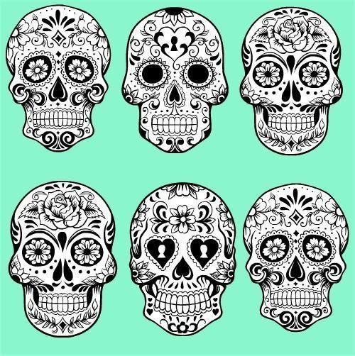 skull pattern google sk - Mexican Halloween Skulls