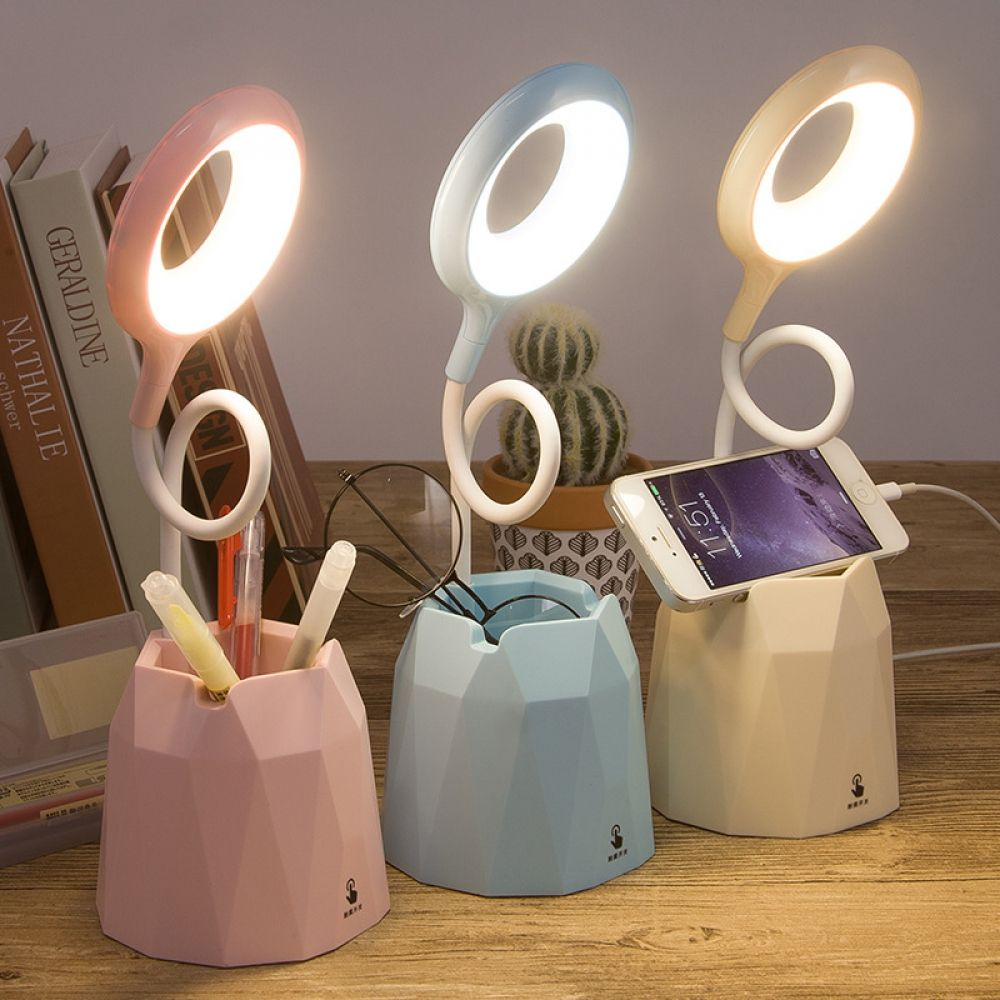 4000mah Rechargeable Led Table Touch Lamp Desk Lamps Usb Flexible Reading Ring Light For Children With Phone Hoder Pen Holder In 2020 Touch Lamp Study Lamps Desk Lamp
