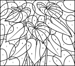 challenging color by number pages anthurium printable color by number page hard