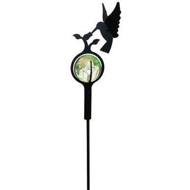 Wrought Iron Marble Garden Stake With Hummingbird Design