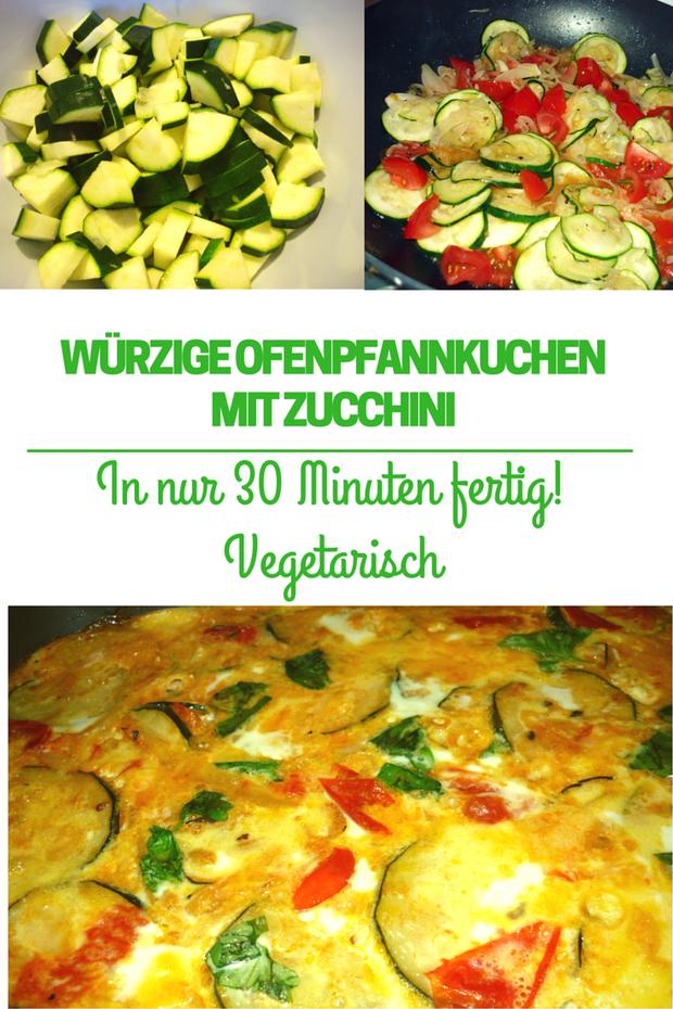 Würziger Ofenpfannkuchen mit Zucchini | Zutaten: Eier, Zucchini, Tomaten, Basilikum | Schnelles, einfaches Rezept, vegetarisch