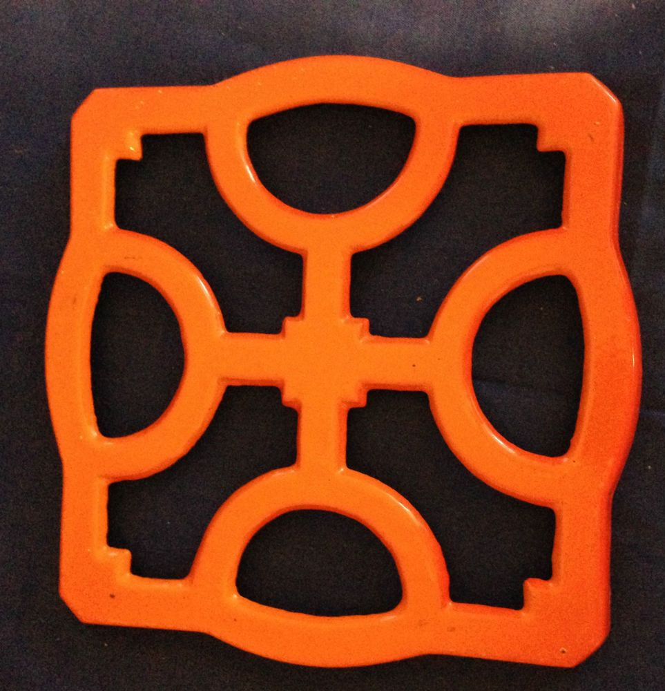 Descoware 1960s Flame Orange Enamel Cast Iron Square