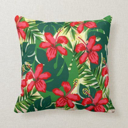 Tropical Colorful Jungle Hibiscus Red And Green Throw Pillow Zazzle Com Green Throw Pillows Throw Pillows Green Throw