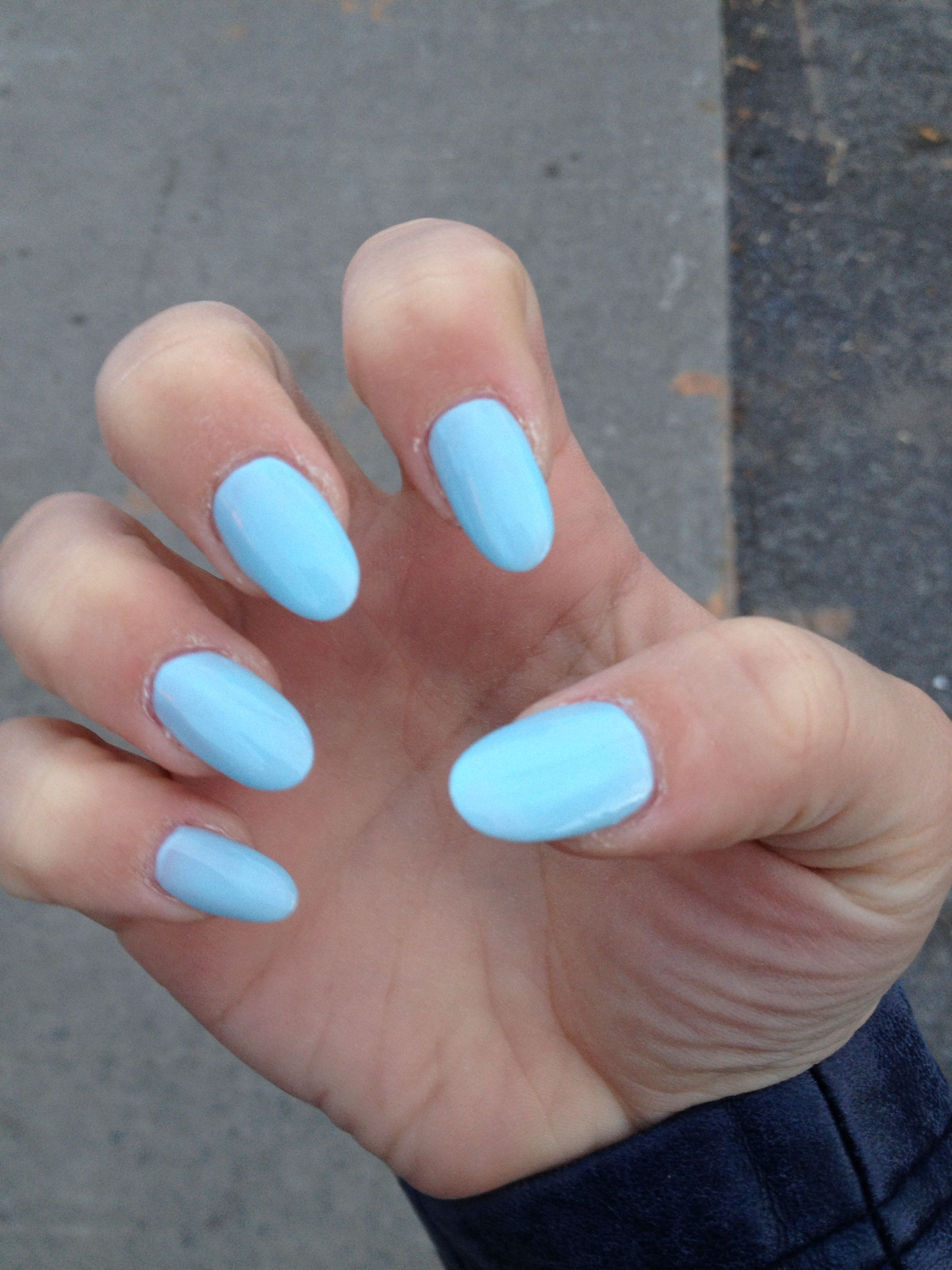 Super Fun Blue Oval Nails Oval Acrylic Nails Oval Nails Blue Shellac Nails