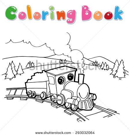 Train Coloring Page Cartoon Vector ภาพประกอบ