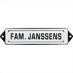 Naamplaat: Fam. Janssens Identity wit / zwart   Poppers Wallebroek B.V.