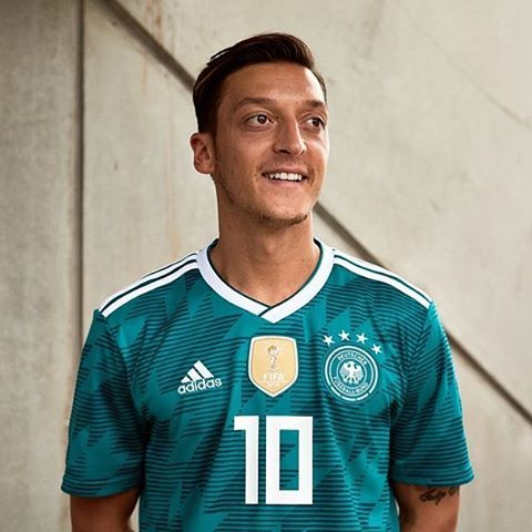 Mesut Özil models Germany s 2018 World Cup away kit  Adidas  Germany   DieMannschaft  dfb  DFBTeam  WorldCup  YaGunnersYa 63feced23
