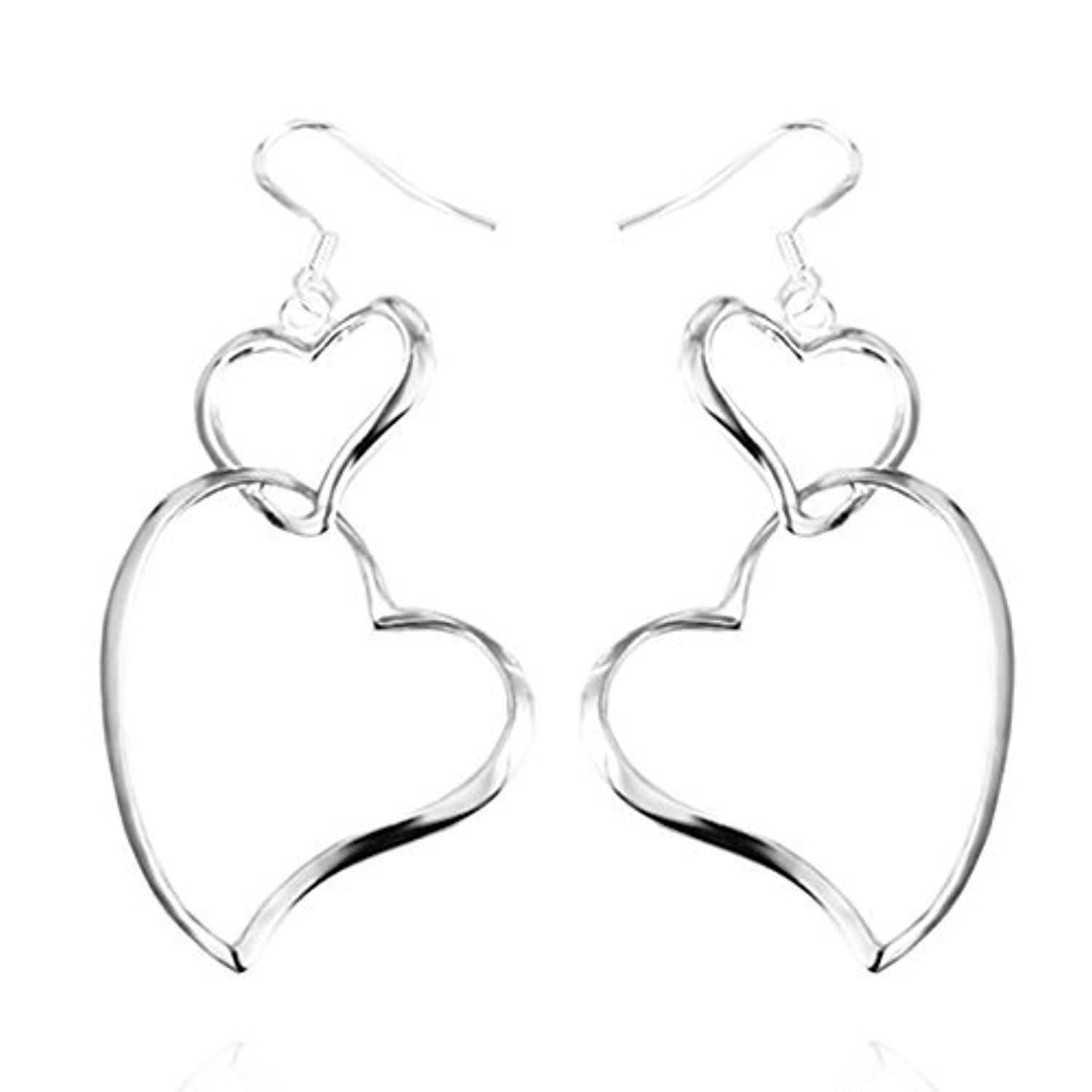 Sephla 925 Sterling Silver Plated Double Heart Link Dangle Earrings For Women by sephla -- Awesome products selected by Anna Churchill