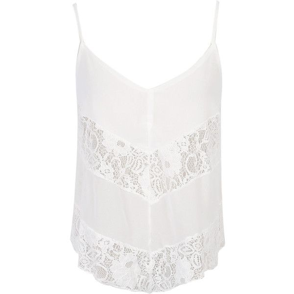 ee264f6750 White V-neck Mesh Lace Insert Sheer Cami Top ( 18) ❤ liked on Polyvore  featuring tops