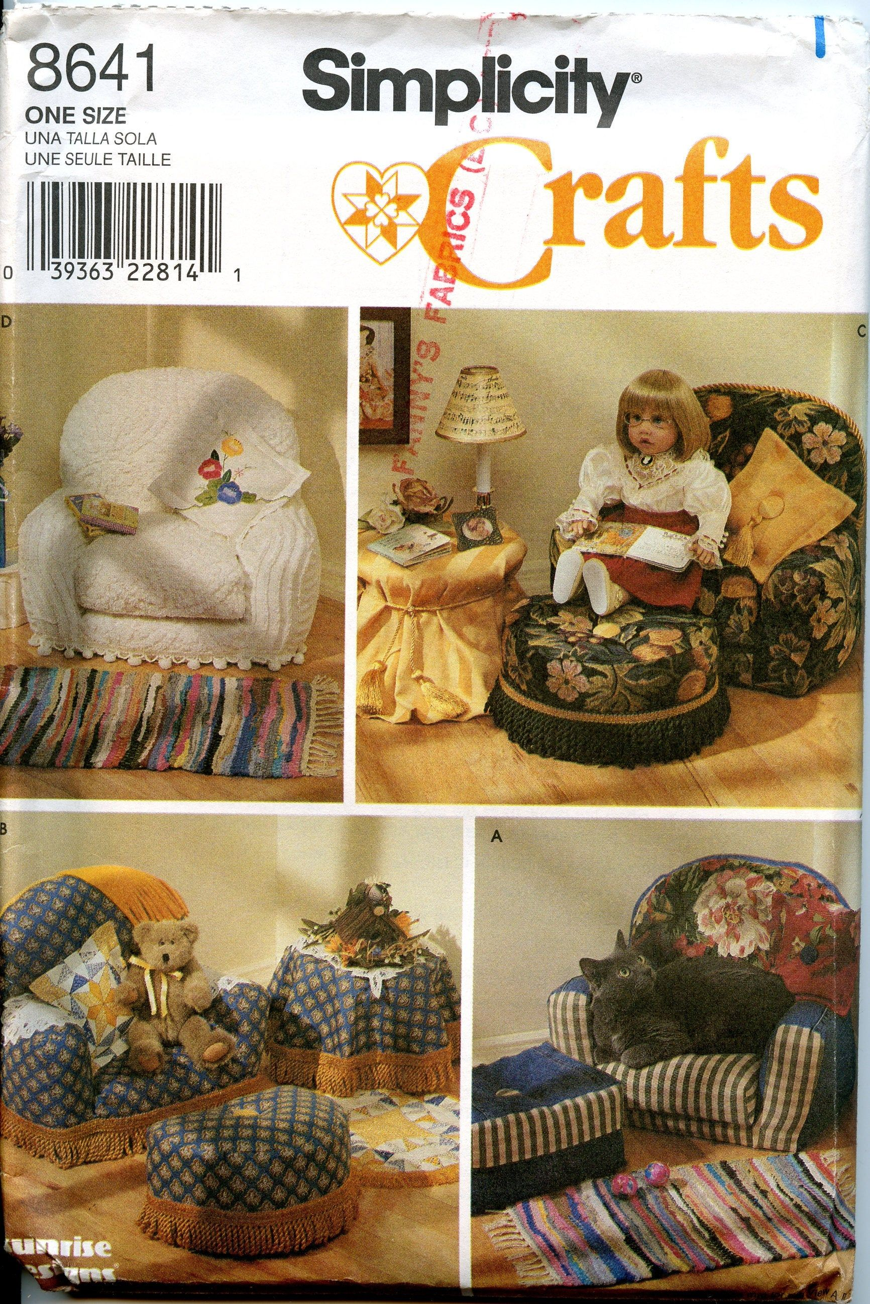 """Simplicity 8641 18/"""" Girl Doll Pattern Stuffed Craft Chairs and Accessories Sofa"""