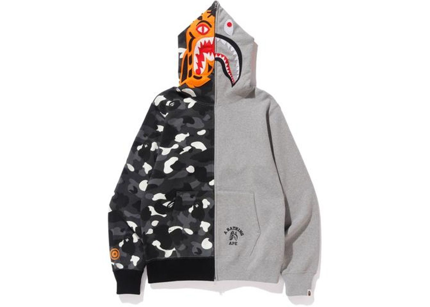 4fa23f63d87d Bape City Camo Tiger Shark Full Zip Hoodie Gray