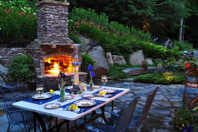 Backyard Fireplace, Outdoor Dining, Lighting  Outdoor Fireplace  Greenleaf Services Inc.  Linville, NC