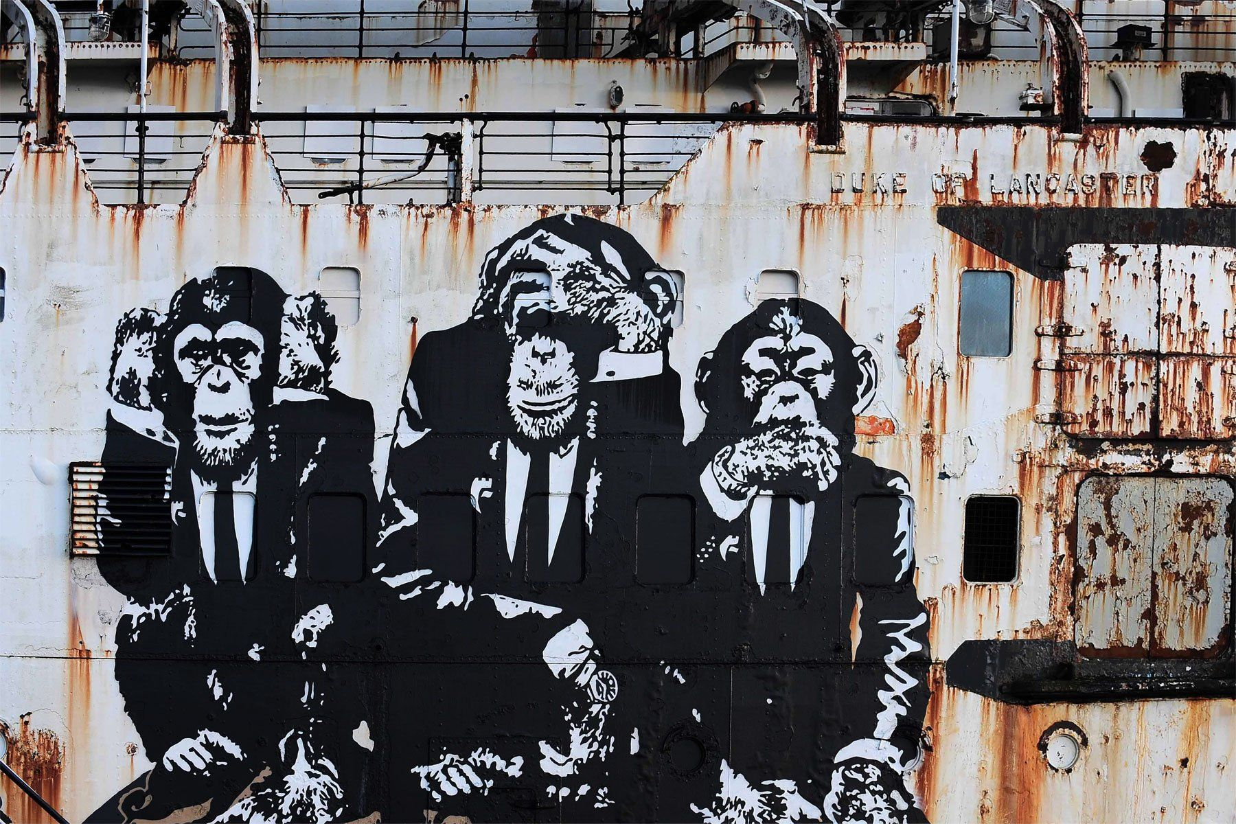 """Graffiti Ape Man 24/""""x36/"""" Canvas Print Banksy"""