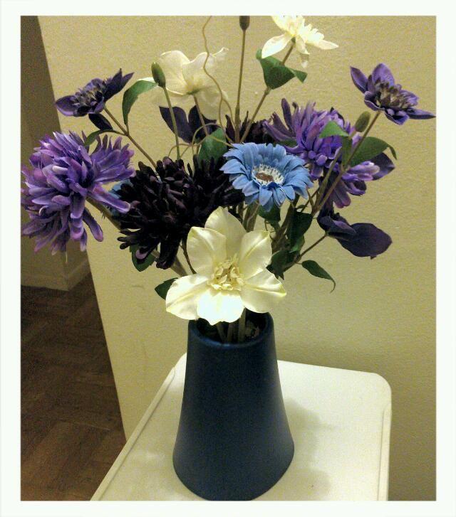 Blue and purple centerpiece