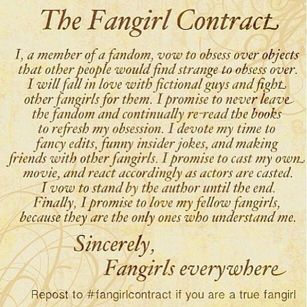 """The Fangirl Contract. Repin To """"sign"""""""