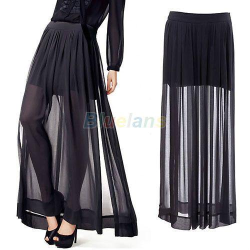 fa10819905 Womens See Through Dress Sheer Side Split Pleated Chiffon Maxi Long Skirt  Black
