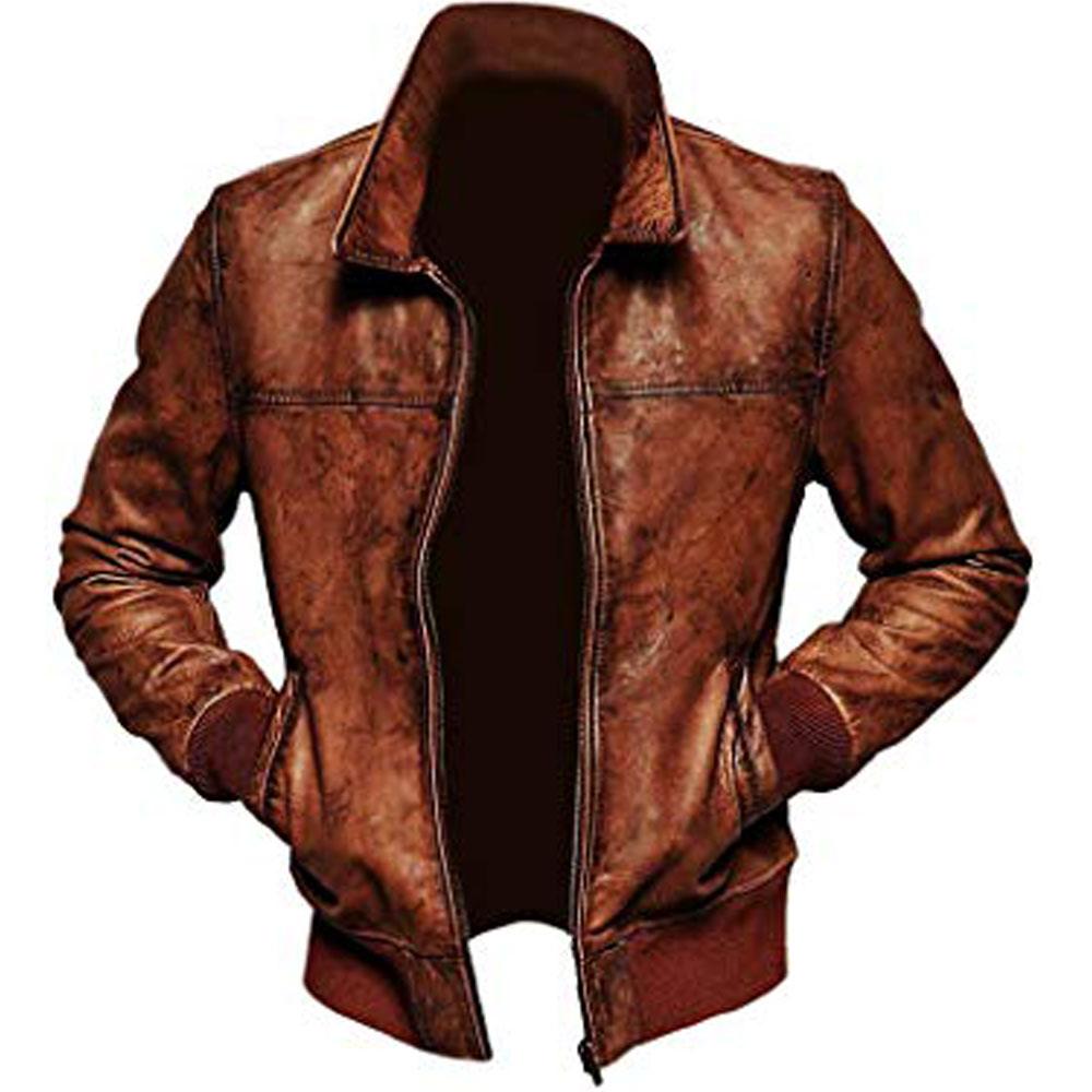 Mens Biker Vintage Leather Bomber Jacket Leather bomber