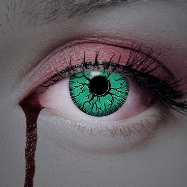Grüne farbige Kontaktlinsen, schwarze Adern, Tierlinsen ...