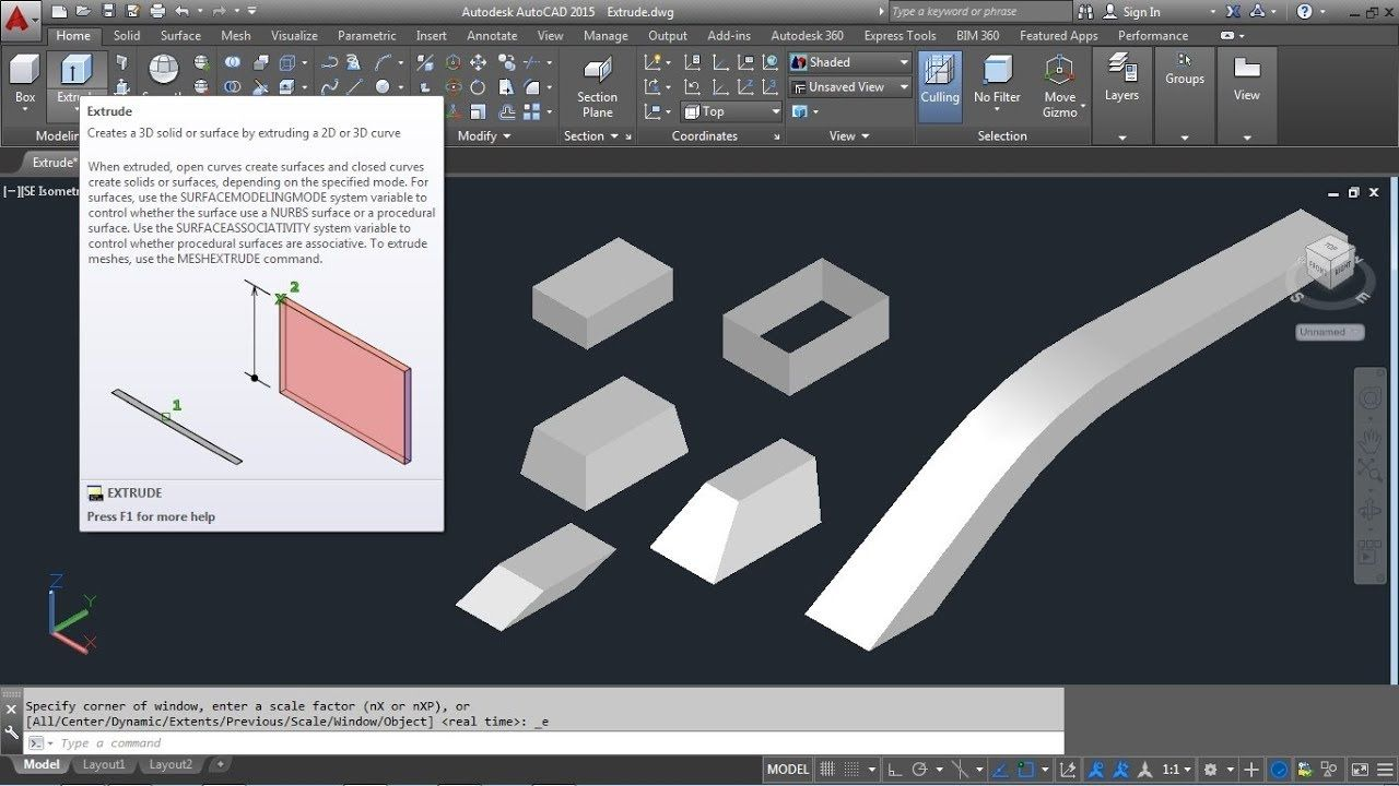 Autocad 3d Extrude Command Tutorial Complete Surface Solid Along Pat Autocad Extrude Parametric