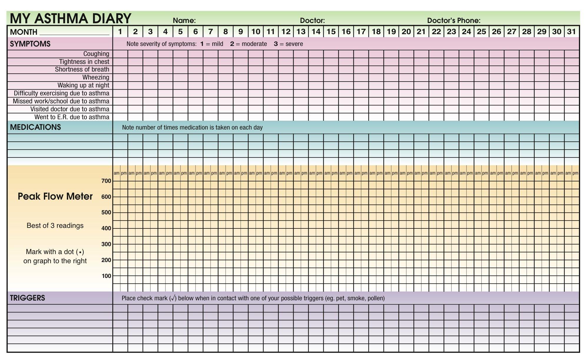 Asthma Diary Inside Jpg 1 990 1 233 Pixels Asthma Allergy Asthma Lungs Health