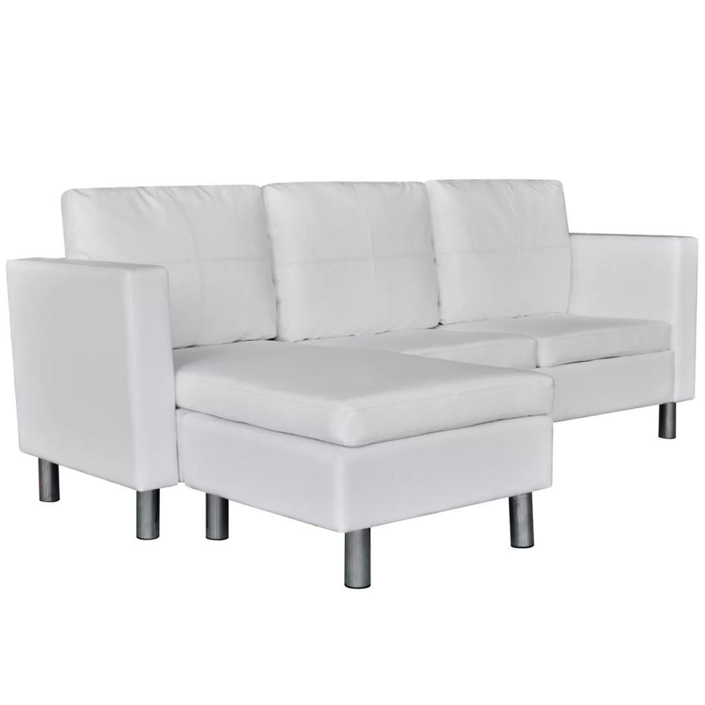 Couch Kunstleder Vidaxl Kunstleder 3-sitzer Loungesofa L-form Ecksofa Dreisitzer Eckcouch Couch | Sectional Sofa, White Sectional Sofa, Leather Sectional Sofas