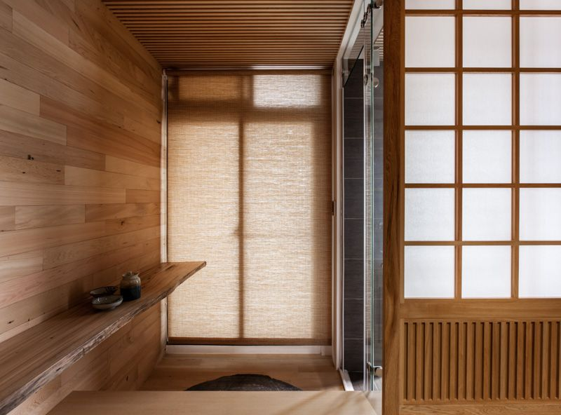 Neutral Contemporary Japanese Wood Panel Room With Glass Sliding