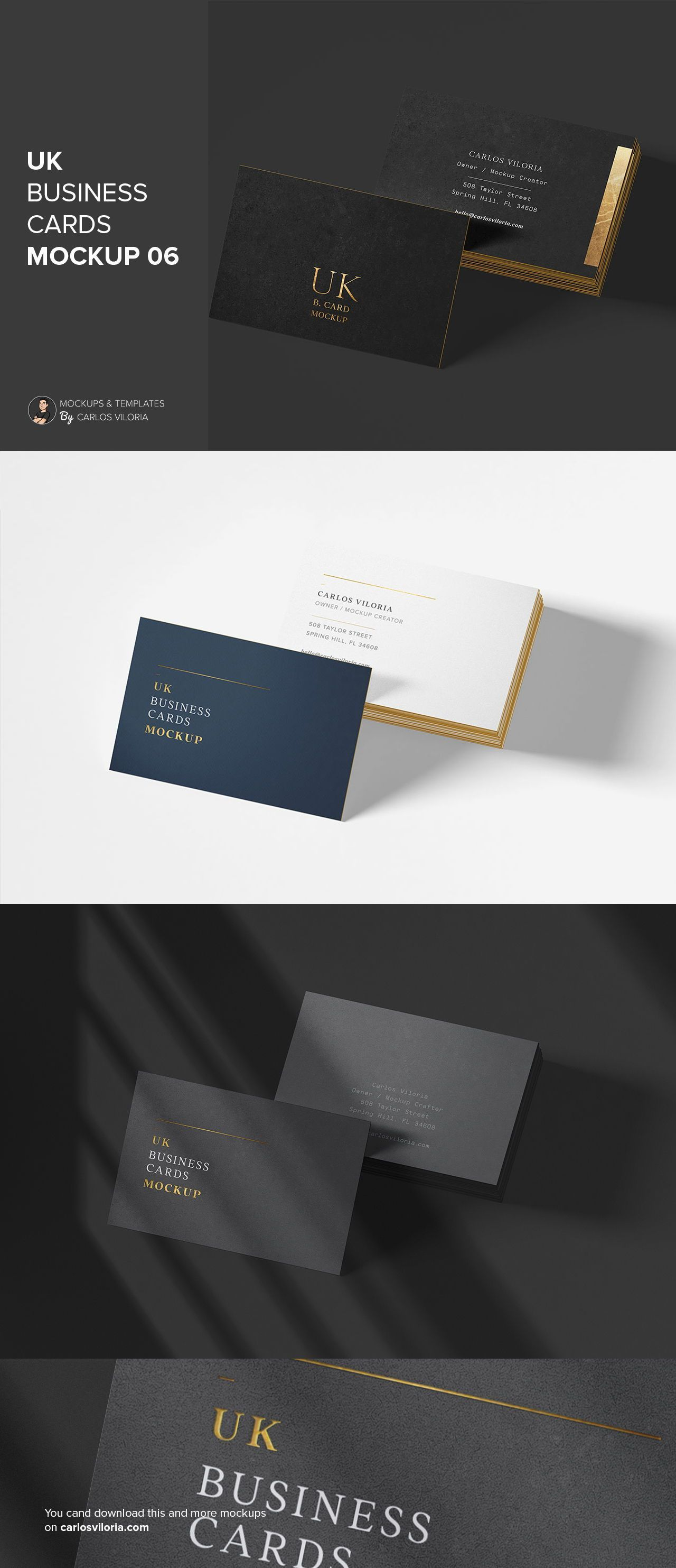 Simple Uk Cards Mockup For Branding Designs By Carlosviloria Com Business Card Mock Up Branding Design Business Card Size