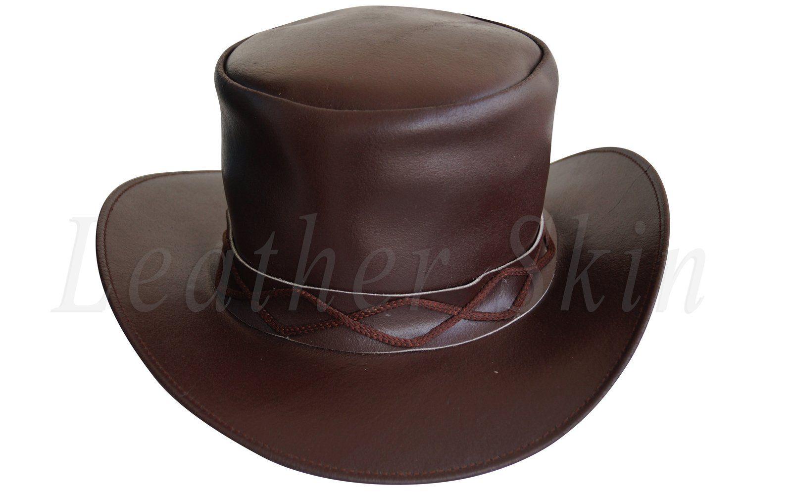 7585f6f81df83 Men Black Leather Rock Hat Fields of the Nephilim Carl McCoy Goth Steam punk