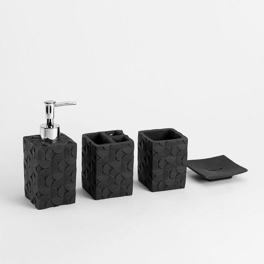 طقم اكسسوارات حمام أسود و فضي عدد القطع 4 Bath Accessories Black Silver Silver