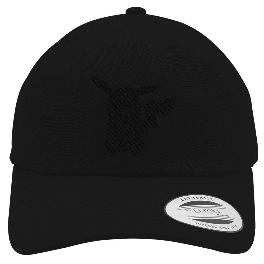 Pikachu Black Embroidered Cotton Twill Hat