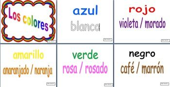 Print these Spanish color words in color to create a nice visual or bulletin board in your classroom.  These would also make nice flashcards for students.Colors included:AzulBlancoRojoVioleta/MoradoAmarilloAnaranjado / NaranjaVerdeRosa / RosadoNegroCaf / MarrnGrisRainbow border provided by Tanya Rae Designs
