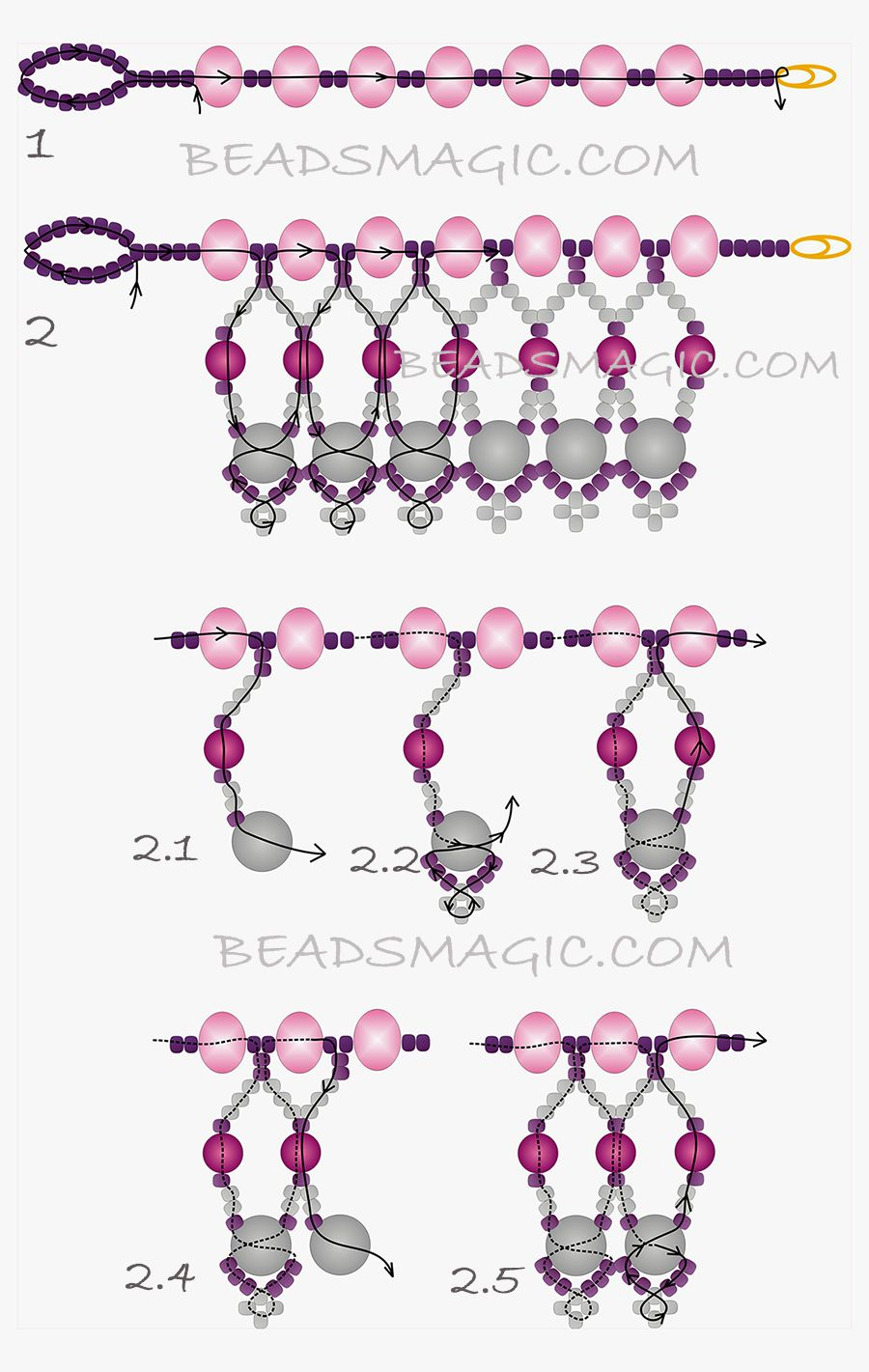 free-beading-necklace-tutorial-pattern-tila-drops-2ya   Beading 3 ...