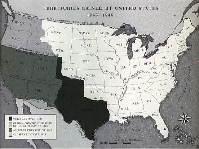 This is a detailed map with dates showing the annexation of Texas ...