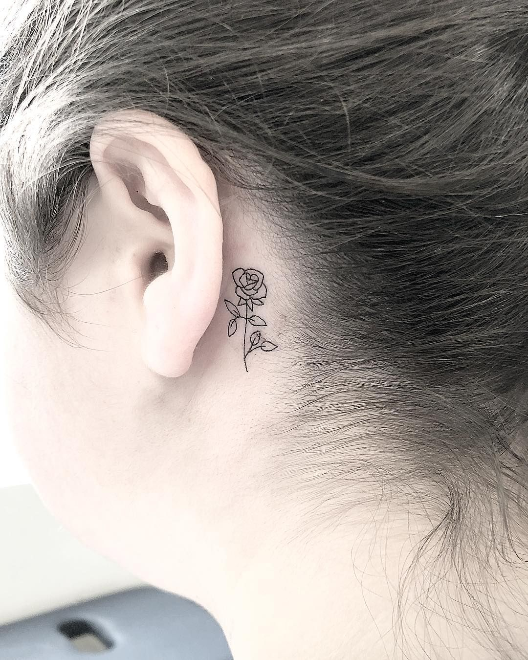 Small Rose Behind The Ear For Jessica Thanks For Coming In Behind Ear Tattoo Small Behind Ear Tattoos Rose Tattoo Behind Ear