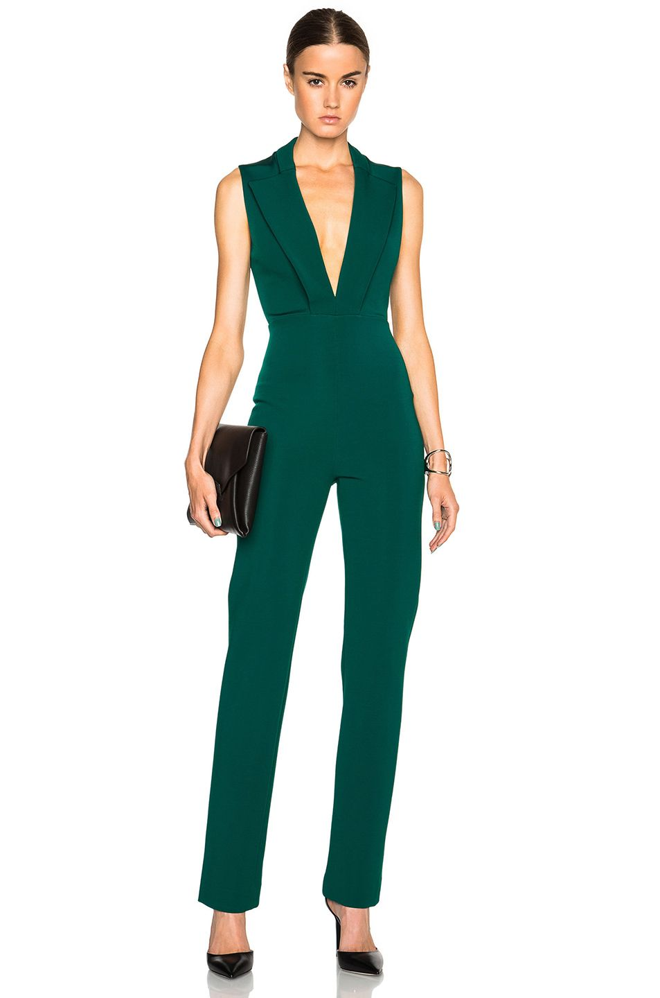 191e03c46e61 Image 1 of Cushnie et Ochs Power Stretch Viscose Jumpsuit in Emerald More