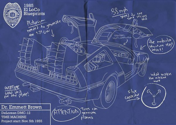 Back to the future delorean blueprint movie lover pinterest back to the future delorean blueprint malvernweather Images