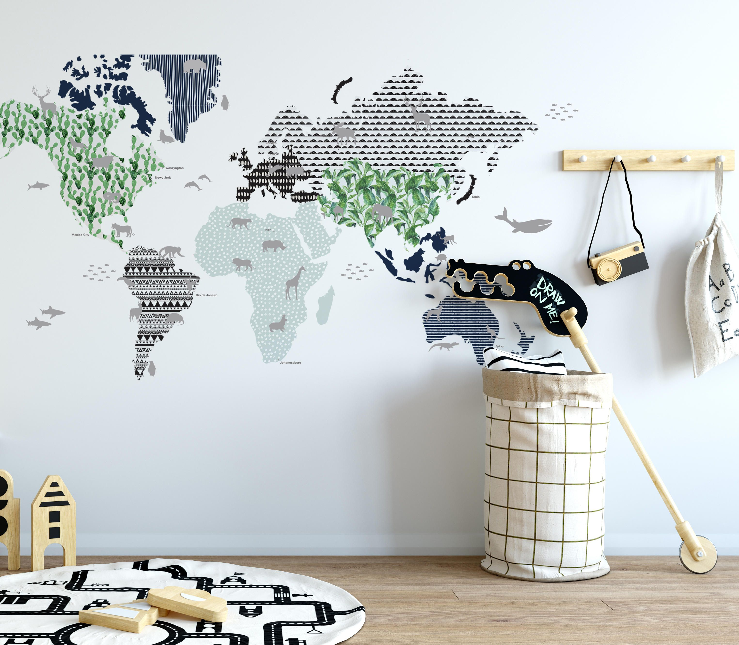World map wall sticker blue gumiabroncs Images