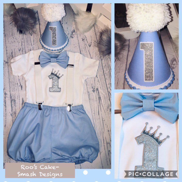 Boys 1st Birthday Outfit Hat Crown Romper Vest Cake Smash Photoshoot Blue Prop