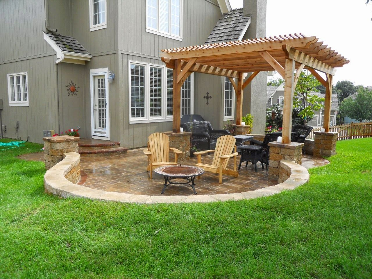 Surprising Back Porch Idea with Wooden Gazebo Designs and Fire Pit also  Black Chairs Design - Surprising Back Porch Idea With Wooden Gazebo Designs And Fire Pit