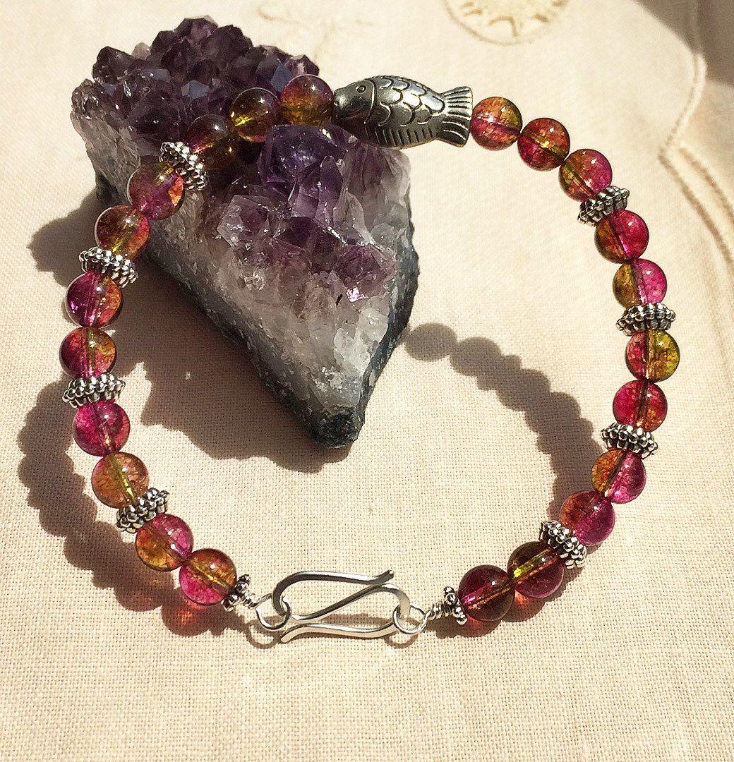 watermelon turmaline bracelet handmade with sterling silver wire and tibetan silver beads by HoneyMoonNYC on Etsy