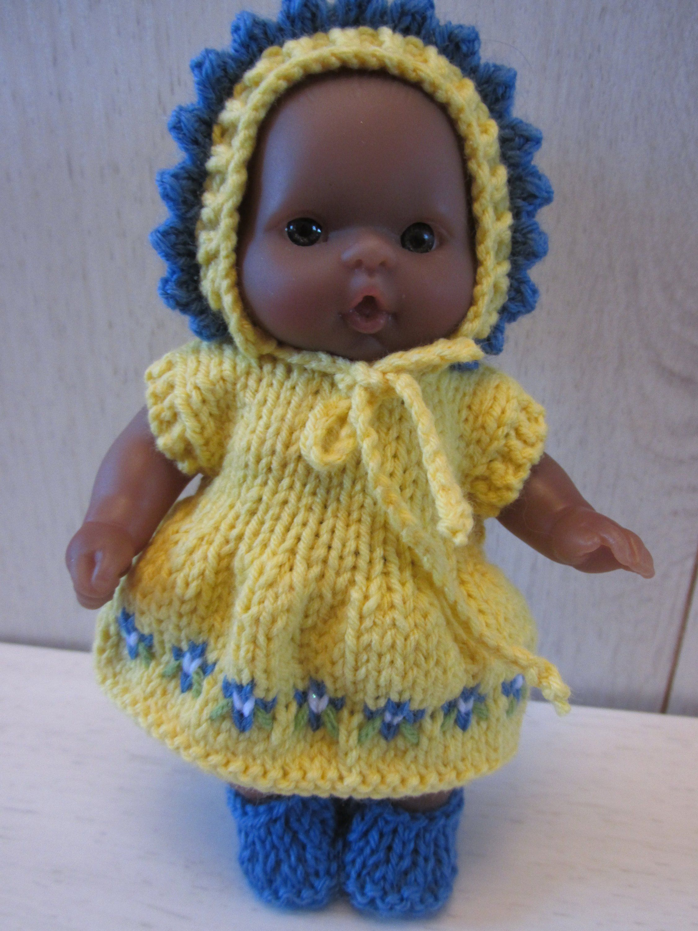 """Hand Knitted Dress Set for 5"""" Berenguer Doll by ..."""