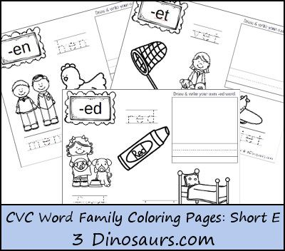 New Cvc Word Family Coloring Pages Short E Vowel Word Families Cvc Word Families Cvc Words