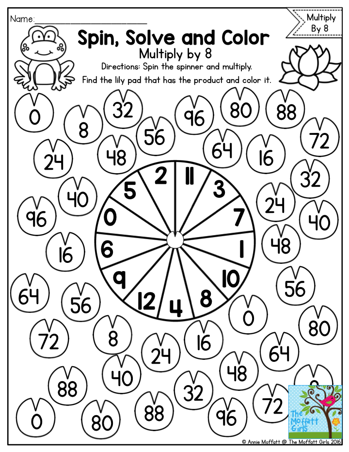 Spin Solve and Color Practicing Multiplication Facts with a fun – Multiplication Game Worksheet