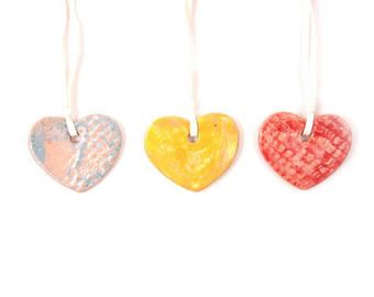 Ceramic Hearts (set of 3 ), Pottery Ornament, Pastel colors hearts