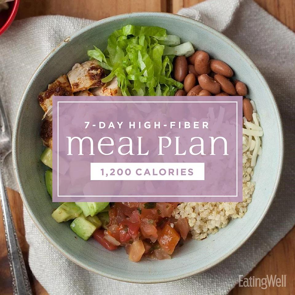 7Day HighFiber Meal Plan 1,200 Calories High fiber