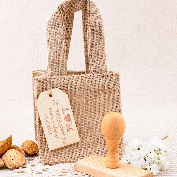 Bolsa de yute para regalo w regalos pinterest - Bolsitas de tela de saco ...