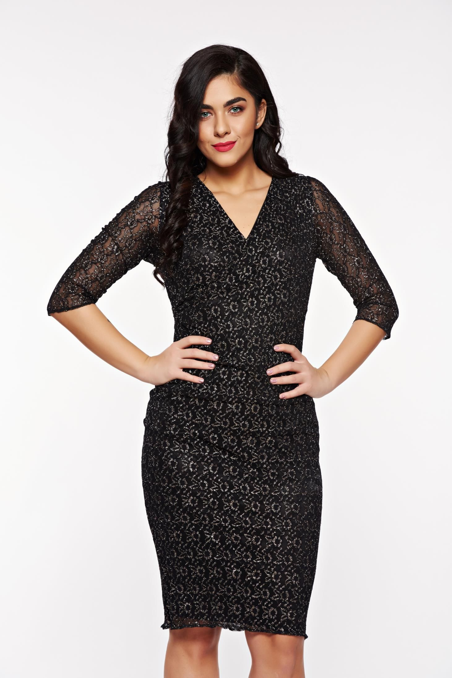 8d8926ecbb StarShinerS black occasional dress laced with lame thread with inside  lining